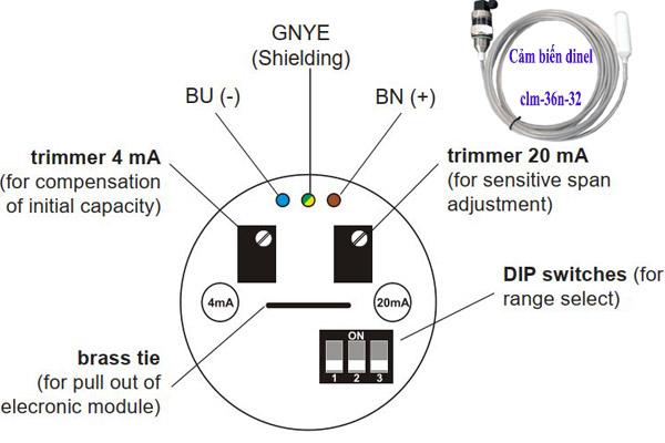 hướng dẫn cài đặt cảm biến đo mức dinel clm-36n-32