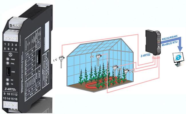 Bộ chuyển đổi tín hiệu modbus nhận trực tiếp 4 tín hiệu cảm biến pt100