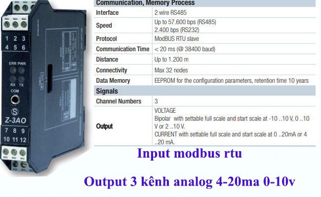 Bộ chuyển đổi tín hiệu modbus ra 4-20ma 0-10v
