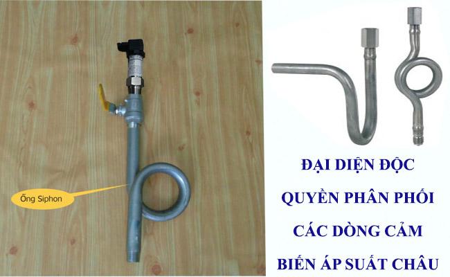dùng ống siphon giảm nhiệt cho cảm biến đo áp suất khí gas