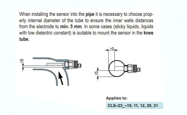 Các lắp đặt thiết bị đo mực nước trong bể cls-23n