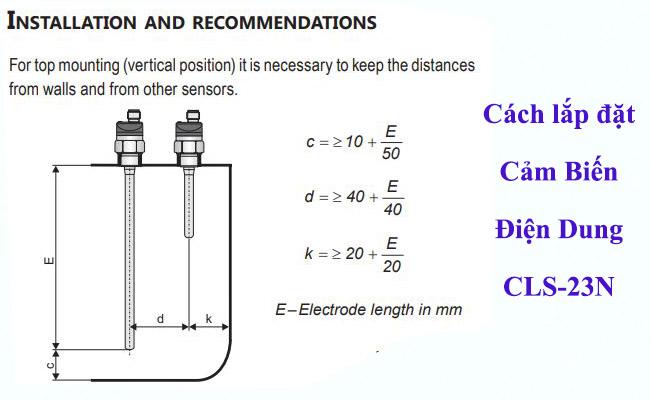 Phương pháp lắp đặt cảm biến điện dung cls-23n