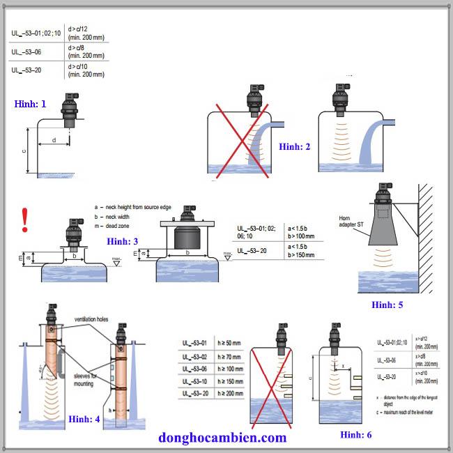 Lắp đặt cảm biến siêu âm đo mức nước Dinel