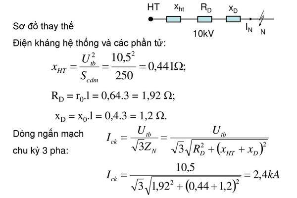 công thức tính dòng ngắn mạch 3 pha