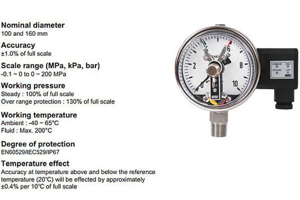đồng hồ áp suất nước có tiếp điểm điện