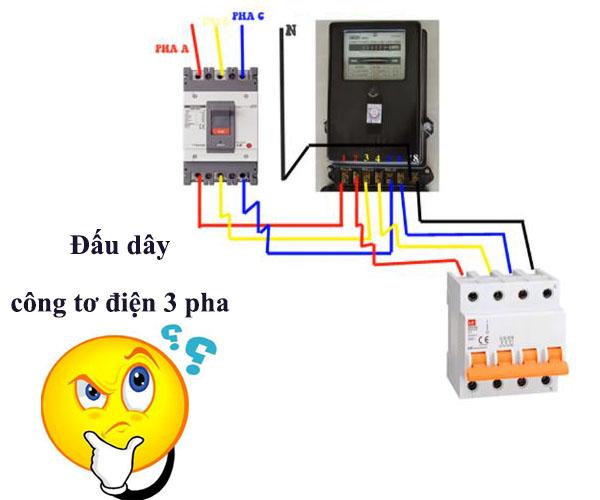 cách đấu công tơ điện 3 pha trực tiếp