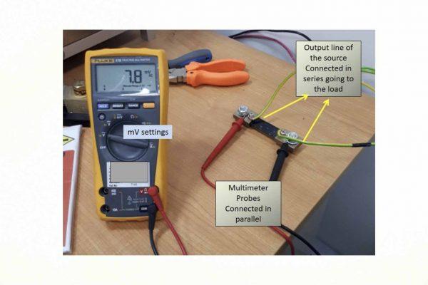đo điện trở shunt hiển thị trên đồng hồ VOM