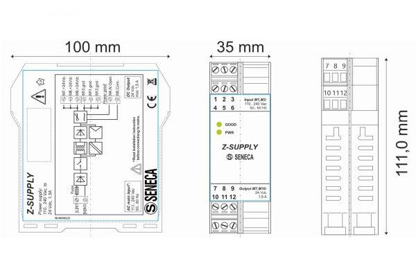 Kích thước thiết kế bộ chuyển dòng 220v sang 24v gắn din rail tủ điện