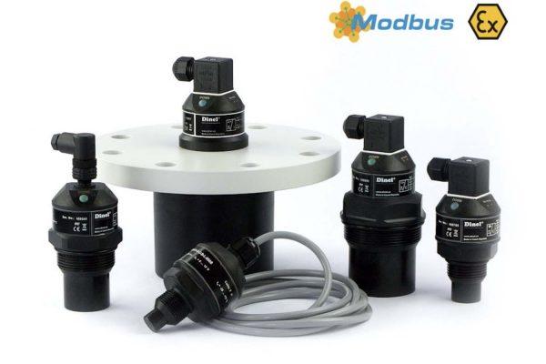 sensor siêu âm đo mức nước thải dinel phát sóng dạng radar đo mức